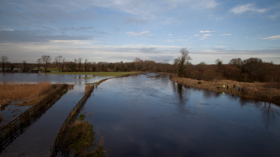 Flooding along the River Barrow on the Kildare/Laois border (Pic: Photocall/Eamonn Farrell)