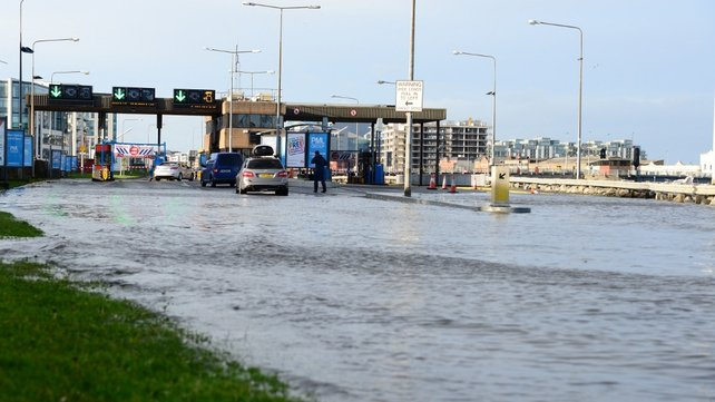 Flooding at the East Link toll bridge in Dublin (Pic: Aleesha Tully)