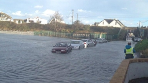 Cars stuck in flood water at the estuary in Malahide (Pic: Sharon O'Sullivan)