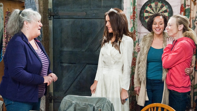 Rachel is touched when Ali brings in their mum's wedding dress