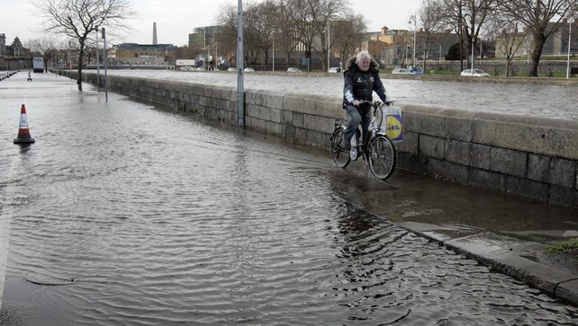 Victoria Quay in Dublin city centre which was impassable due to flooding (Pic: Photocall Ireland/Mark Stedman)