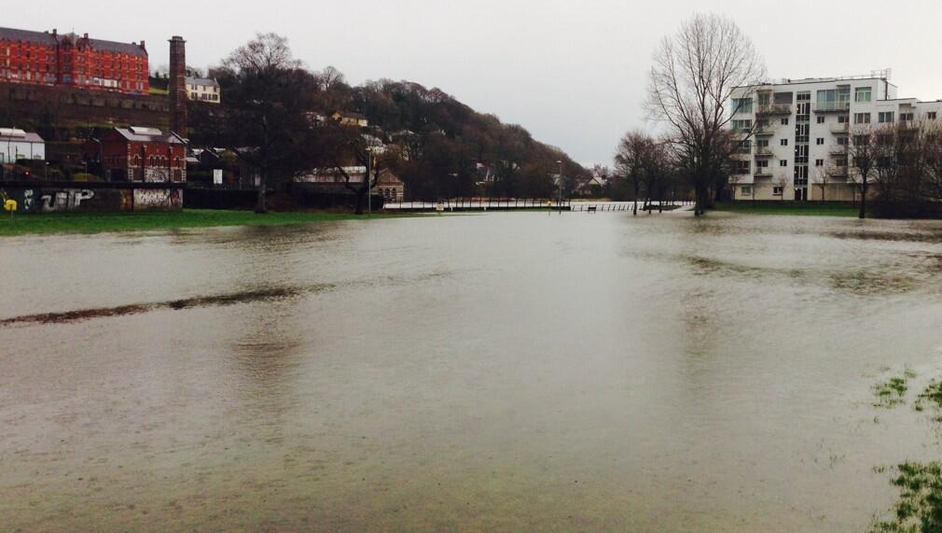 Lee Fields in Co Cork was flooded during high tide (Pic: @randomcorkstuff)