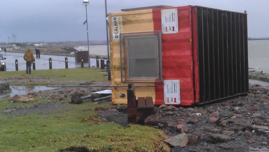A lifeguard hut was blown over at Palmers Rock, Salthill in Galway (Pic: Galway City Council)