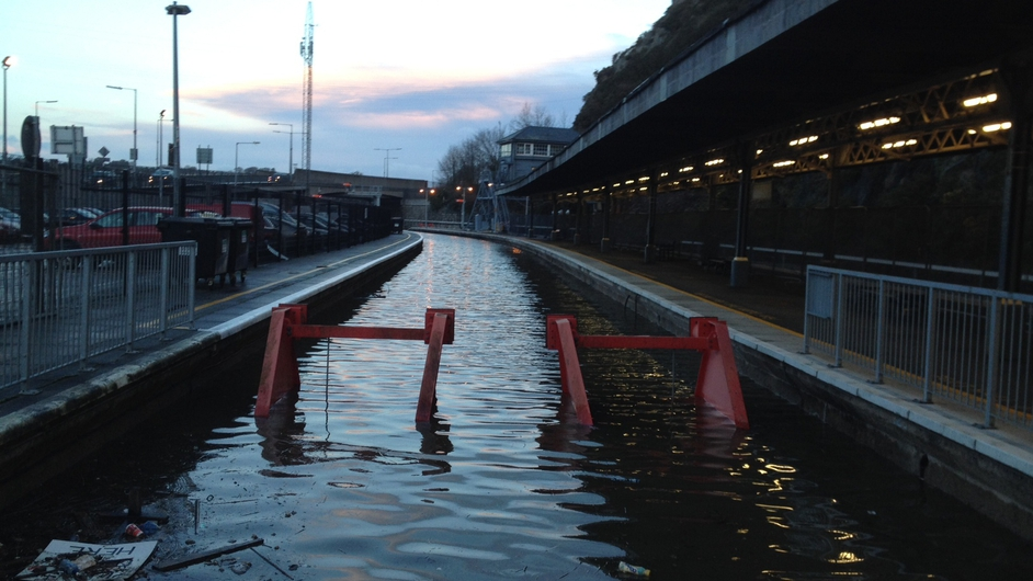 Plunkett Railway Station in Waterford was affected by the inclement weather (Pic: Kevin Finnegan)