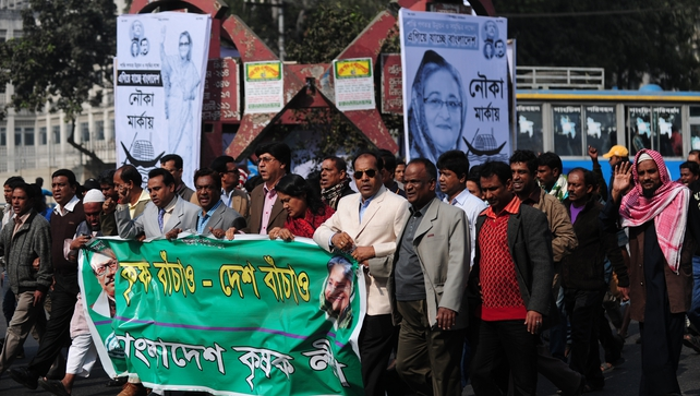 Supporters take part in a procession in Bangladesh in support of Prime Minister Sheikh Hasina Wajid
