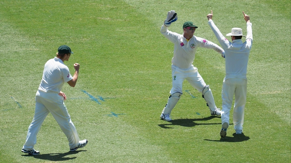 Australia's Michael Clarke, Shane Watson and Brad Haddin celebrate the wicket of Ben Stokes