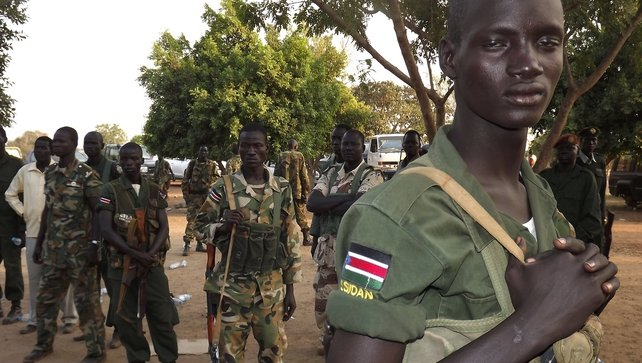 A group of South Sudanese soldiers patrol the streets of Juba amid serious unrest there in recent weeks