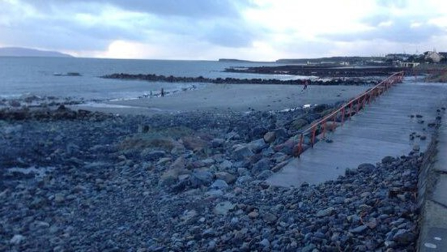 A formerly sandy stretch of beach in Salthill after yesterday's flooding