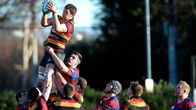 Lansdowne's Brian Moylett wins a lineout against Clontarf