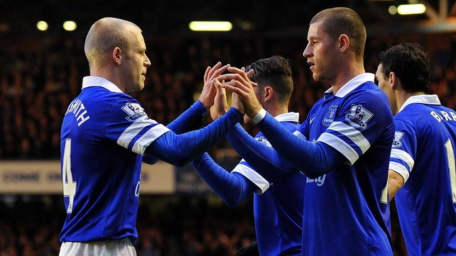 Ross Barkley celebrates scoring the opening goal with Steven Naismith