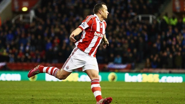 Stoke's Charlie Adam celebrates after scoring his side's second goal