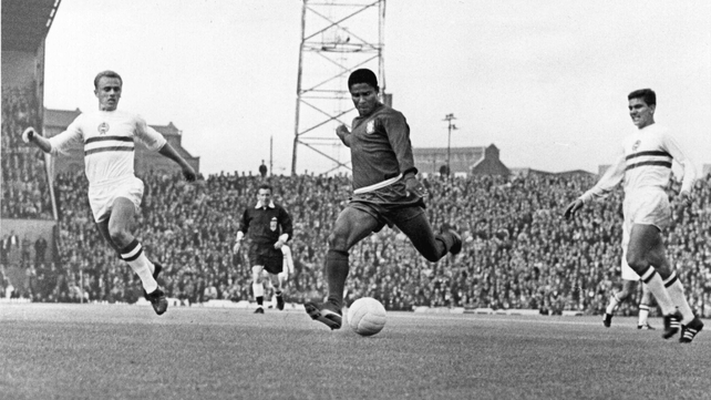 Eusebio in action against Hungary during the World Cup finals of 1966
