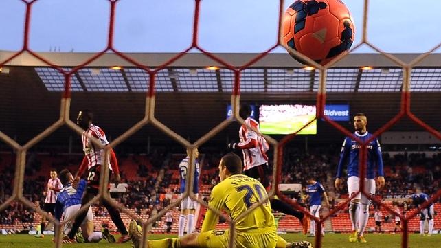 El Hadji Ba (l) scores Sunderland's third goal