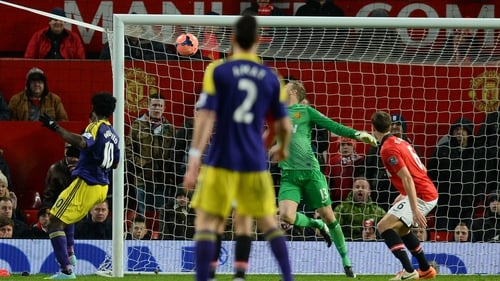 Wilfried Bony struck in the 90th minute to dump United out