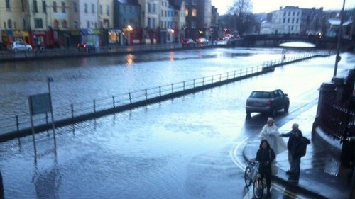 The River Lee broke its banks at high tide this morning
