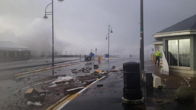Damage to the lower promenade in Tramore, Co Waterford (Pic: Jonny Sinnot)