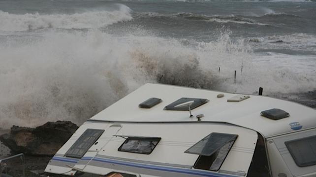 A caravan badly damaged at Caherdaniel in Co Kerry (Pic: Wave Crest Caravan & Camping, Caherdaniel)
