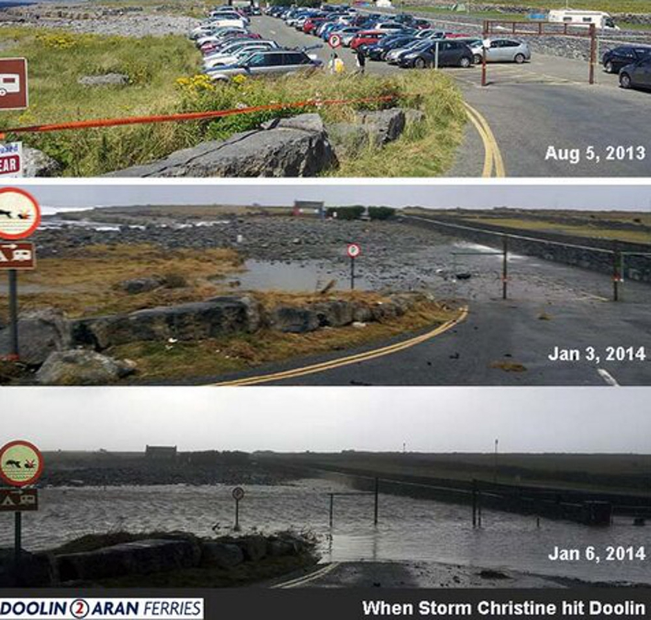 This image from Doolin2Aran Ferries shows differing views of the car park in Co Clare