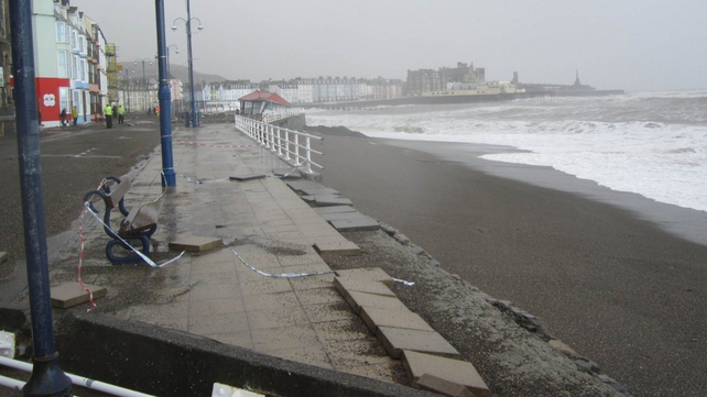 The damage in Aberystwyth where violent storms and gale force winds have reduced large parts of the historic seafront to rubble