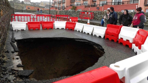 A sinkhole appears on Strand Road, Tramore in Co Waterford following recent storms (Pic: Tina Schley)