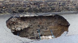 A sinkhole appears on Strand Road, Tramore in Co Waterford (Pic: Tina Schley)
