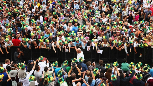 Darren Lehmann, coach of Australia, is greeted by supporters at Sydney Opera House