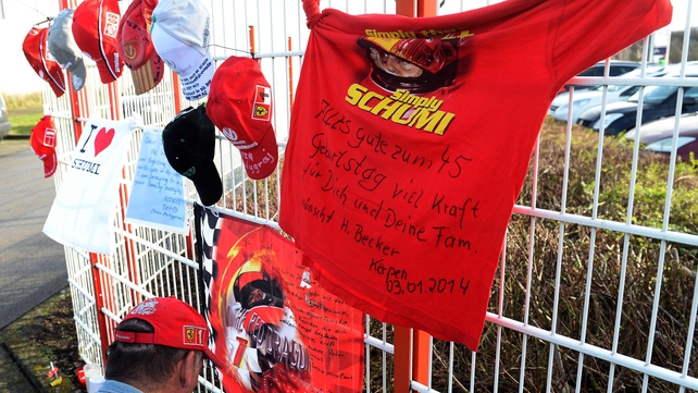 Messages of support on the fence of the karting circuit owned by German former Formula One champion Michael Schumacher near Cologne