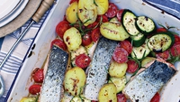 Salmon Tray Bake - Quick and light.