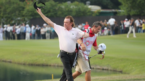 Miguel Angel Jimenez takes the plaudits after his win at the Hong Kong Open