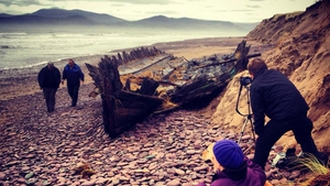 After 100 years, the wreck of the schooner Sunbeam on Rossbeigh Strand, Co Kerry, is left exposed by the bad weather