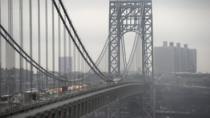 The George Washington Bridge spans New York's Hudson River