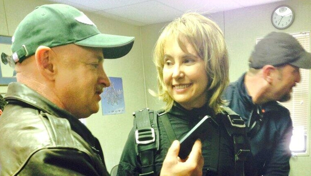 Gabrielle Giffords took part in a skydive to mark the three year anniversary of the Tuscon attack