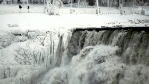 The polar vortex led to a partially frozen Niagara Falls