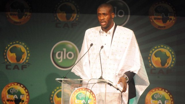 Yaya Toure makes his acceptance speech at the awards ceremony in Lagos