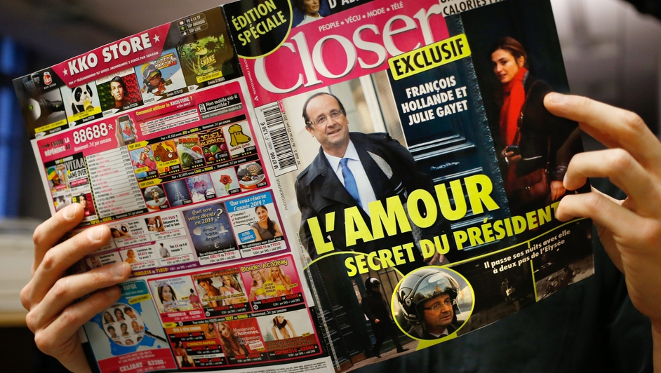 French magazine Closer said President Francois Hollande was having an affair with actress Julie Gayet