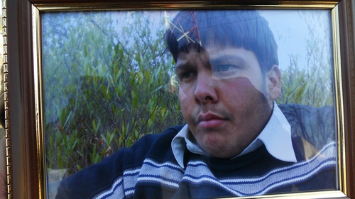 A family image of Aitzaz Hassan who was killed in the attack outside his school in Hangu
