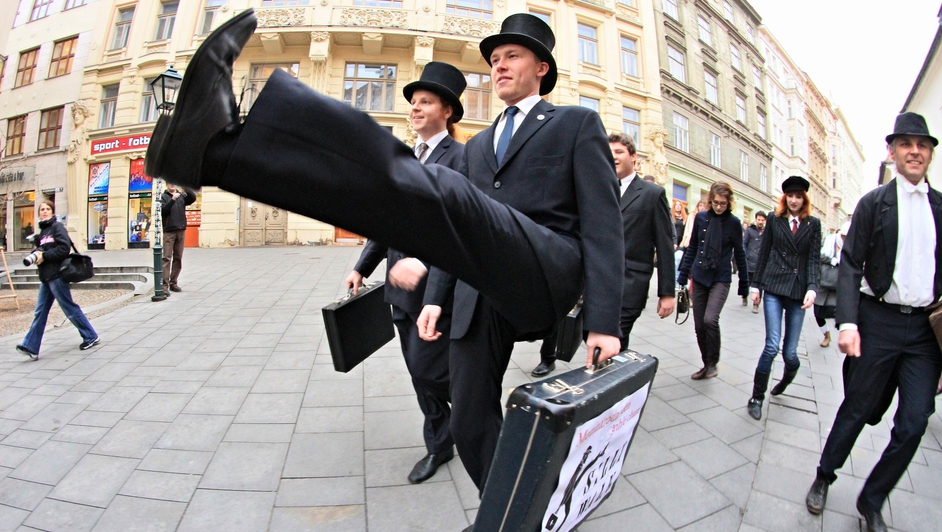 Supporters of Monty Python perform their skills during International Silly Walk Day in Brno, Czech Republic.