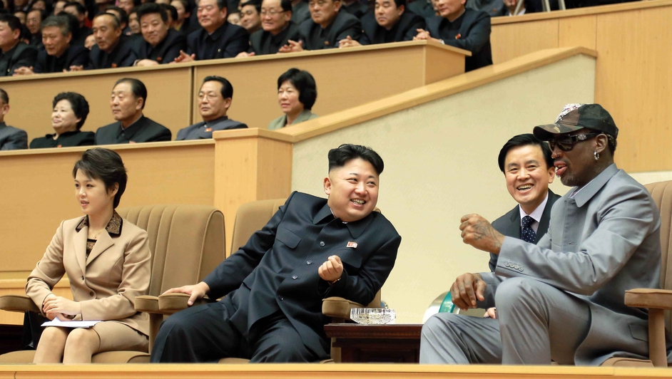 Kim Jong-un and Dennis Rodman watch a friendly game between North Korean players and former NBA players