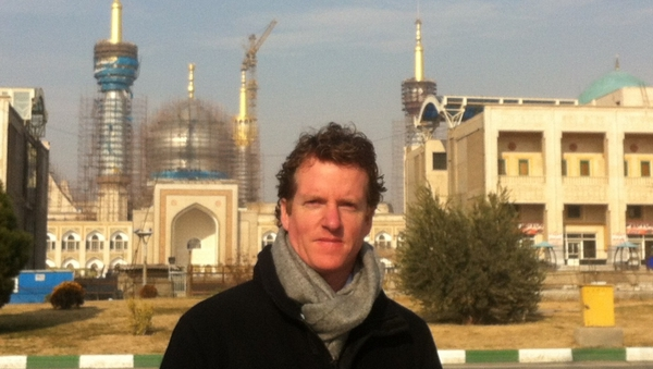 Paul Cunningham is pictured outside the Mausoleum of the Grand Ayatollah Ruhollah Khomeini