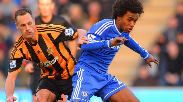 Ireland international David Meyler closes down Chelsea's Willian