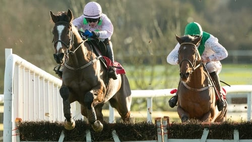 Paul Townend clears the last on Vautour to win the Moscow Flyer Novice Hurdle