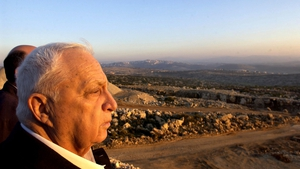 Mr Sharon looks towards Israeli construction works in the West Bank in 2003