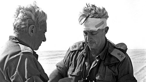 This photo of Ariel Sharon (right) became an iconic image of the Yom Kippur 1973 Middle East war