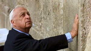 Mr Sharon praying at the Western Wall in Jerusalem, Judaism's holiest site, after being elected prime minister in 2001