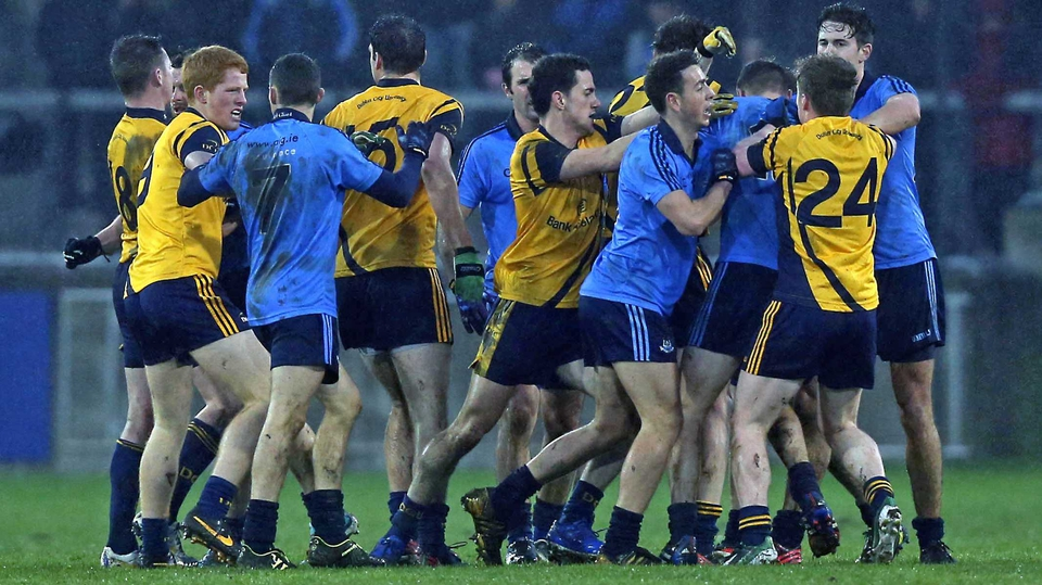 A scuffle breaks out between Dublin and DCU players during their O'Byrne Cup tie in Parnell Park