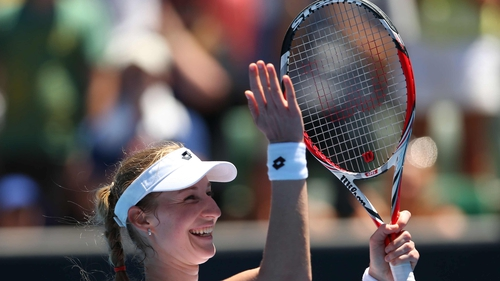 Ekaterina Makarova celebrates the win