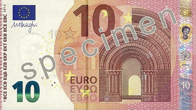 The ECB says the new €10 note has enhanced security features