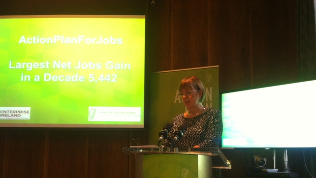 Enterprise Ireland's CEO Julie Sinnamon says EI supported firms have recorded their highest net gain of jobs in a decade