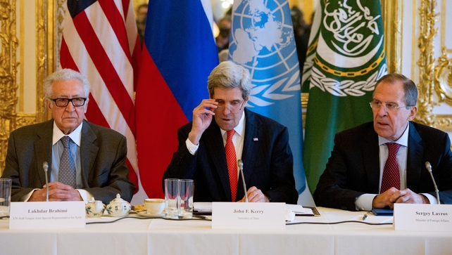 John Kerry, Sergei Lavrov and Lakhdar Brahimi following today's talks