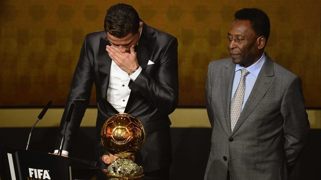Ronaldo fights back the tears alongside Brazil legend Pele